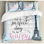 Eiffel Tower Perfect Day To Be Happy Bedding Set Bedroom Decor
