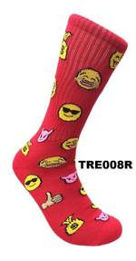 Smiley Faces Emoji Socks - Red Comfortable Cute Funny Unique Unisex Socks