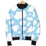 White And Blue Cow  3D Printed Unisex Jacket