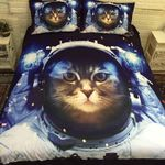 Cat Astronaut Time To Discover Printed Bedding Set Bedroom Decor