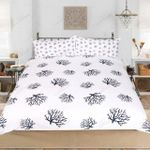 Coral White Background Printed Bedding Set Bedroom Decor