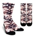Pink Brown Camouflage Print Unisex Crew Socks