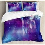 Fantastic Night Purple Starry Sky Printed Bedding Set Bedroom Decor