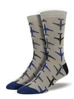 "Men's Bamboo ""Airplanes"" Socks Comfortable Funny Cute Unique Socks"