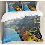Hawaiian Mountainous Terrant Printed Bedding Set Bedroom Decor
