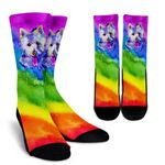 Rainbow Westie  Gift For Dog Lovers Printed Crew Socks