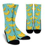 Polka Dot Banana Pattern Print Unisex Crew Socks