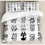 Cats Cartoon Black And White Bedding Set Bedroom Decor