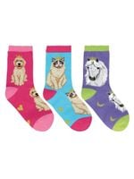 """Kid's """"Reigning Cats & Dogs"""" 3-Pack Socks Comfortable Cute Funny Unique Socks"""