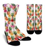 Hawaii Hibiscus Pineapple Pattern Print Unisex Crew Socks
