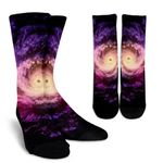 Purple Galaxy Space Spiral Cloud Print Unisex Crew Socks
