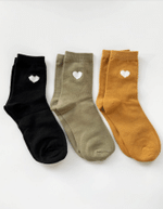 Black/Mint/Mustard Heart Socks - Set of 3 Lovely Birthday Gift For Men Women Comfortable Unique Socks