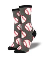 Out to the Ballgame, Baseball (Grey) Women's Crew Sock Funny Cute Unique Socks