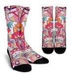 Pastel Bohemian Floral Pattern Print Unisex Crew Socks