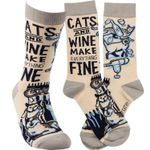 Cats and Wine Sock Comfortable Cute Funny Unique Unisex Socks