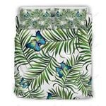 Green Tropical Leaves Butterfly Bedding Set Bedroom Decor