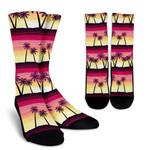 Sunset Palm Tree Pattern Print Unisex Crew Socks