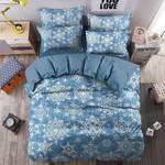 Christmas Snowflake Pattern Printed Bedding Set Bedroom Decor