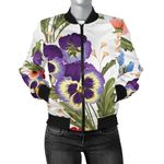Purple Pansy Pattern 3D Printed Unisex Jacket