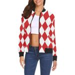 Harlequin Red And White Print Women Casual Bomber Jacket