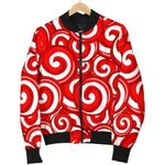 Red Candy Cane Pattern 3D Printed Unisex Jacket