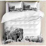Elephants Into Wilderness Printed Bedding Set Bedroom Decor