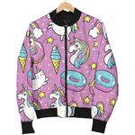 Pink Girly Unicorn Donut Pattern 3D Printed Unisex Jacket