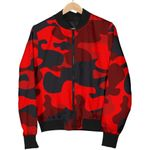 Red And Black Camouflage  3D Printed Unisex Jacket