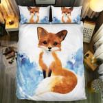 Fox Watercolor Bedding Set Bedroom Decor