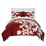 Flowers Red Pattern Printed Bedding Set Bedroom Decor