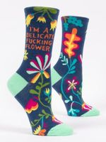 I'm A Delicate Fucking Flower Crew Socks Gift Ideas For Men Women Cotton Funny Comfortable Cute Unique Socks