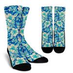 Blue Blossom Tropical Pattern Print Unisex Crew Socks