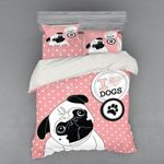 Adorable Pug Pink Dots Printed Bedding Set Bedroom Decor
