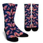 Orange And Purple Butterfly Print Unisex Crew Socks