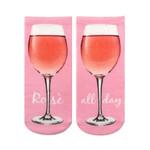 Rose All Day Love Wine Pink Printed Crew Socks