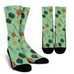 Pastel Green Knitting Pattern  Printed Crew Socks