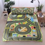 Racing City Mini Map Printed Bedding Set Bedroom Decor