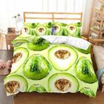 Fresh Green Avocado Pattern Printed Bedding Set Bedroom Decor