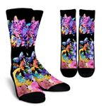 Watercolor Shorthair Tabby Printed Crew Socks