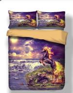 Fire Unicorn Purple Sky Printed Bedding Set Bedroom Decor