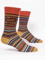 Pretty Decent Boyfriend Men's Crew Socks Funny Cute Unique Socks