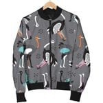 Ostrich Pattern Grey 3D Printed Unisex Jacket