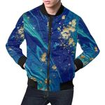 Blue Marble Galaxy Pattern  3D Printed Unisex Jacket