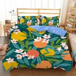 Fruit Orange And Flower Bedding Set Bedroom Decor