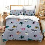 Cat Pattern Purple Printed Bedding Set Bedroom Decor