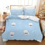 Bichon Blue And White Printed Bedding Set Bedroom Decor