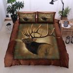Elk Lodge Brown Pattern Printed Bedding Set Bedroom Decor