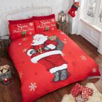 Christmas Santa Claus Snowflake Printed Bedding Set Bedroom Decor
