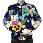 Pansy Pattern Colorful 3D Printed Unisex Jacket