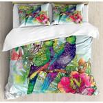 Parrots Couple On Tree Printed Bedding Set Bedroom Decor